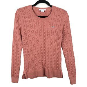 Lacoste Pink Cable Knit Sweater Size 40
